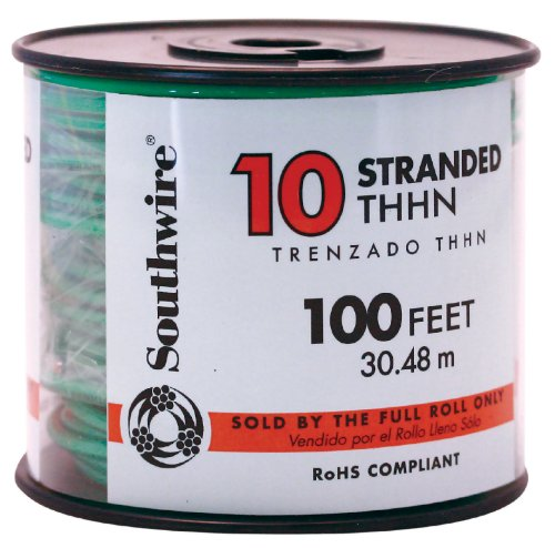 Southwire 22977337 Simpull Thhn or Thwn-2 Standard Wire, 10 Gauge, 100' per Roll, Green (Thhn Wire 10 Gauge compare prices)