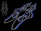 カッティングステッカー ピンストライプ風フレイムC 白×青