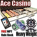 500 Ace Casino Poker Chip Set with Free WPT Rule Book. 14 Gram Heavy Weighted Poker Chips.