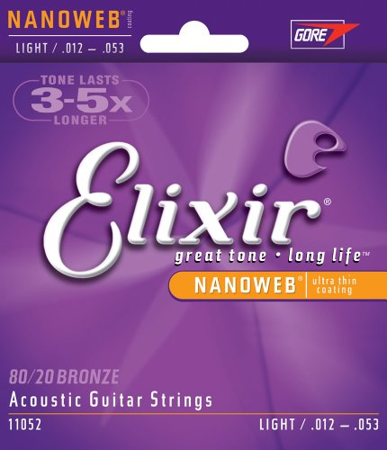 Elixir Light Nanoweb 80/20 Bronze Acoustic Guitar