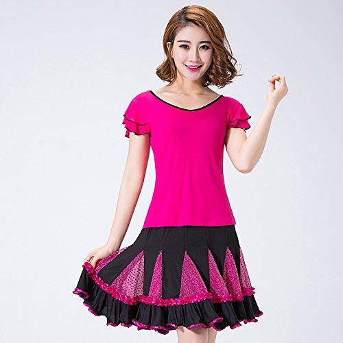 FELONG qfl Set Net Garn von Frühjahr bis Sommer of Latin Square Dance Kleidung T Shirt Pailletten-Röcke XXL violett