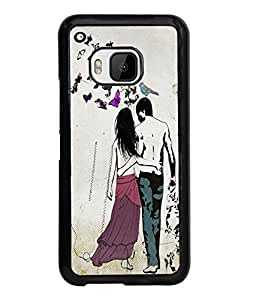 Fuson Butterfly Pattern Love Couple Back Case Cover for HTC ONE M9 - D4013