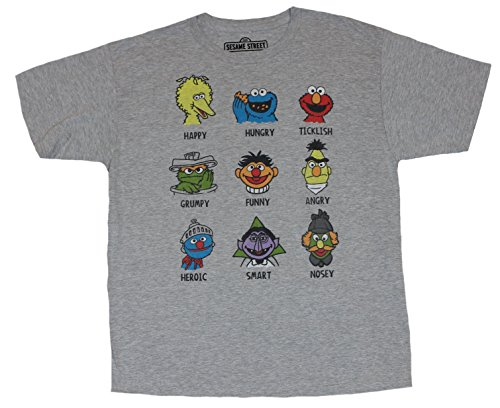 Sesame Street Mens T-Shirt - Heads of Famous Characters Defined