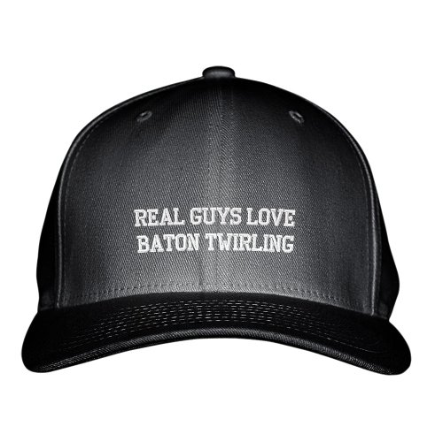 Real Guys Love Baton Twirling Sport Embroidered Adjustable Structured Hat Cap Black