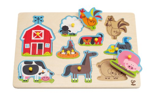 Hape - Farm Animals Peg Puzzle - 1