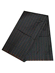 Brocade unstitched Fabric by JDK NOVELTY - Black multicolour dotted fabric (A-20_1M) One meter long