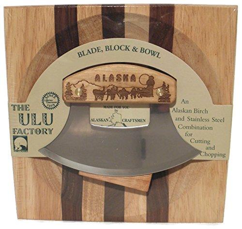 Ulu Factory Alaska Ulu Birch Walnut Stripe Wood Chopping Bowl-board Dog Team Design Handle
