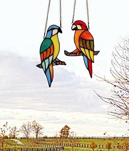 makenier-tiffany-stil-gebeizt-glas-rot-und-blau-papageien-fenster-aufhangen-sun-catcher