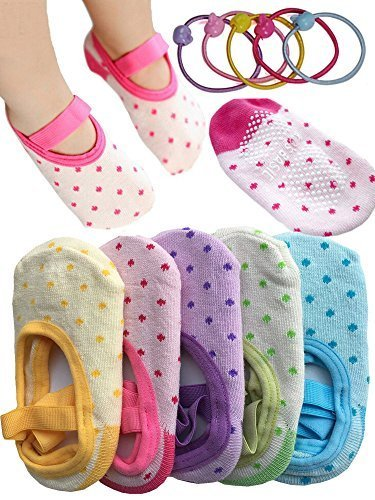 Kid Essentials® 5 Pairs 8-36 Months Cute Lovely Baby Girl Toddler Mary Jane Anti Slip Skid Sock, With 2pcs Phonytail Holder Gifts, Dots No-Show Crew Boat Socks Footsocks