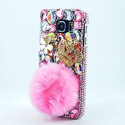 Samsung Galaxy S7 Edge Case, Sense-TE Luxurious Crystal 3D Handmade Sparkle Diamond Rhinestone Clear Cover with Retro Bowknot Anti Dust Plug - Rabbit Tail Villus Crown / Pink