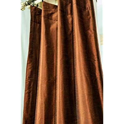 com copper rust solid color faux silk lined rod pocket curtain