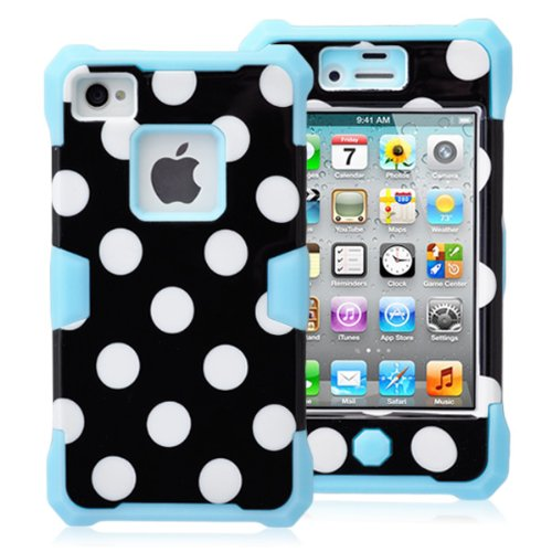 Magicsky Plastic + Silicone Hybrid Black Polka Dot Paint Glow In The Dark Case For Apple Iphone 4 4S 4G - 1 Pack - Retail Packaging - Blue