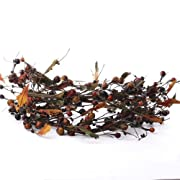Grungy Autumn Splendor Dried Mixed Berry and Fall Leaf Grapevine Garland for Home Decor and Embellishing