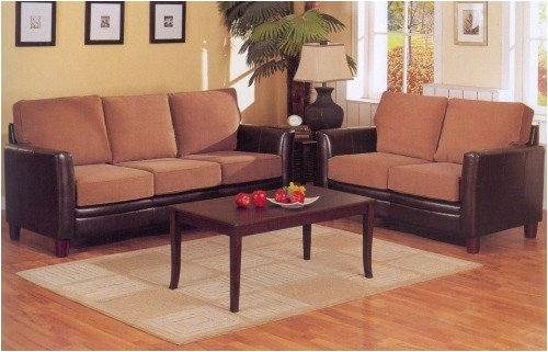 Brown Leather Match Tan Fabric Loveseat With Sofa