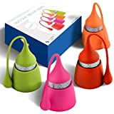 The Friendly Swede Silicone Tea Infuser, Set of 4, Orange, Pink, Red and Green