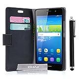 zStarLn® schwarz Hülle Leder Tasche für Huawei Y6 /
