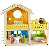 Hape - Happy Villa Doll House - Furnished Playset