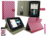 Emartbuy® Hot Pink Stylus + Universal Range ( 8 - 9 Inch ) Polka Dots Hot Pink / White Multi Angle Executive Folio Wallet Case Cover With Card Slots Suitable for Argos Bush MyTablet2 8 Inch