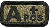 """Tactical Blood Type Patches - """"Type A Positive"""" - 2""""x1"""" (Coyote Tan)"""