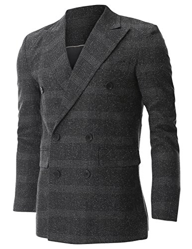 Flatseven Mens Wool Check Plaid Peak Lapel Double Breasted Blazer Jacket (Bj474) Charcoal, Boys M