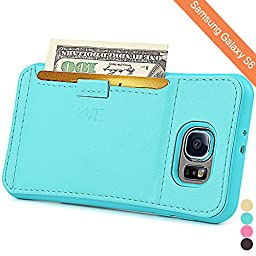ZVE Shock-Absorption Ultra Slim Protective Leather Wallet Cover with Credit Card ID Holders for Samsung Galaxy S6 (Mint Green)