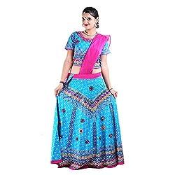RTD Rajasthani Traditional Pink Blue Lehenga Choli Dupatta Set for Women