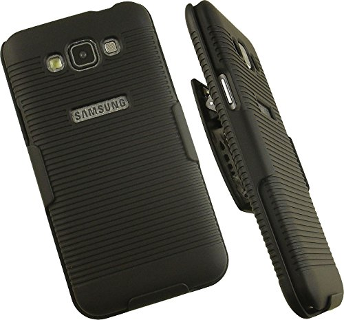 NAKEDCELLPHONE'S BLACK RIBBED RUBBERIZED HARD SHELL CASE COVER + BELT CLIP HOLSTER STAND FOR FOR SAMSUNG GALAXY GRAND MAX PHONE (SM-G7200