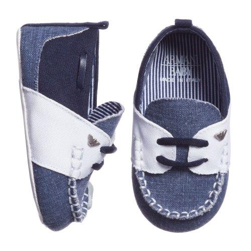 Armani Junior: Baby Boys Blue Cotton Pre-Walker Shoes (17) front-189140