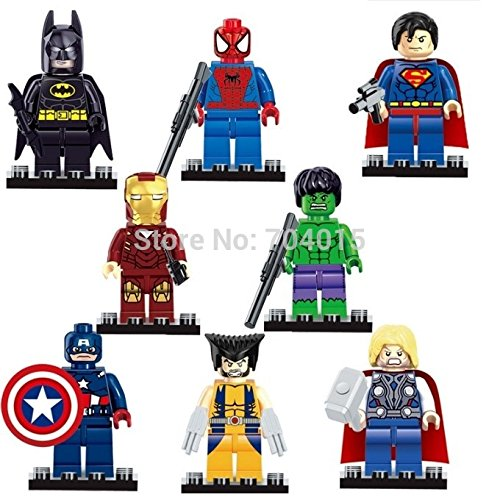 8pcs Super Heroes Iron Man Spiderman Superman Batman Hulk Wolverine Building Blocks Brick Minifigure Toy (Super Hero Squad Helicarrier compare prices)