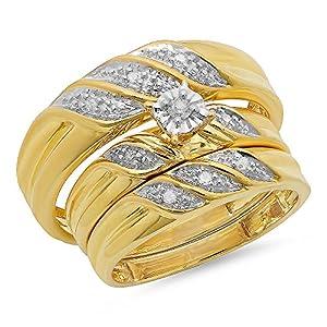 0.12 Carat (ctw) Yellow Gold Plated Sterling Silver Round Diamond Men's & Women's Wedding Trio Set
