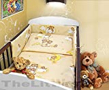COT BUMPER 100 COTTON PADDED FOR BABY FIT COT 120x60 140x70 STRAIGHT 190cm to fit cot 140x70cm Teddy Ladder Cream