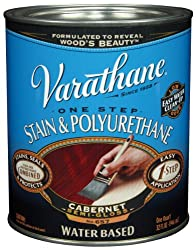 Rust-Oleum VARATHANE One Step Stain & Polyurethane for Interior Furniture & Wood Polish, Water Based, CABERNET, 946 ml