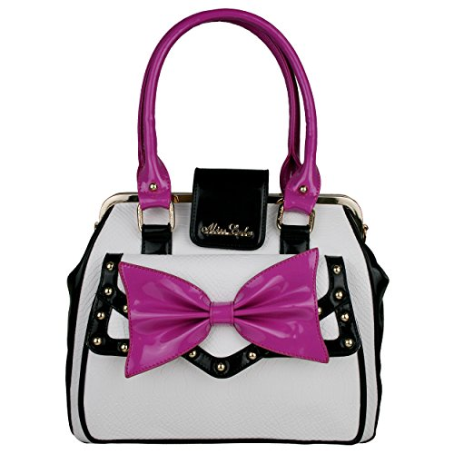 Elegant PU Faux Patent Snakeskin Leather Studded Bow Designer Inspired Handbag