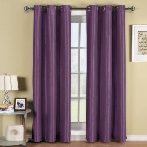 Soho Purple Grommet Blackout Window Curtain Drape, Solid Pattern, 42X63 Inches, By Royal Hotel