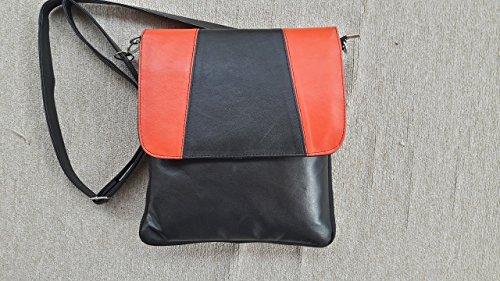womens-teens-girls-genuine-leather-black-yellow-shoulder-messenger-crossbody-bag