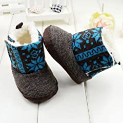 GT-DRESS Toddler Kid National Flower Print Winter Fur Snow Boots Wool Crib Shoes High... by GT Dress