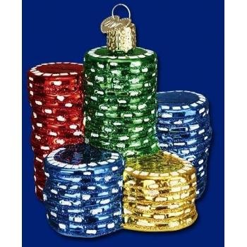 #!Cheap Old World Christmas Poker Chips Ornament