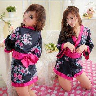 LandPure@ Sexy Wäsche-Kimono-Kleid Dress + G string + Band Set One Size Frauen Nachtwäsche Unterwäsche Uniform Kimono-Kostüm