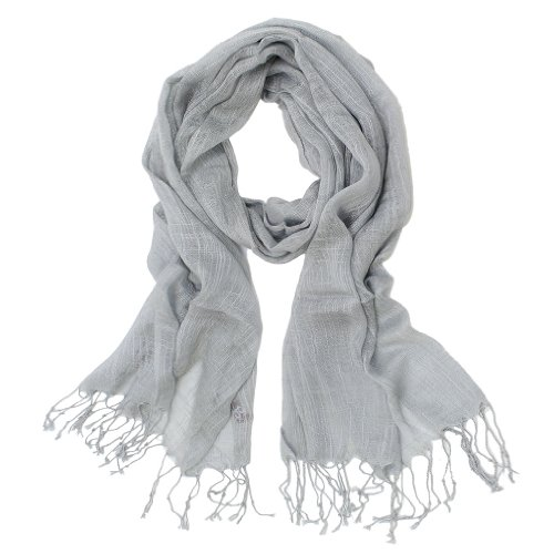 Summer Color 100% Natural Linen Scarf (Gray)