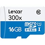 Lexar High-Performance MicroSDHC 300x 16GB UHS-I/U1 (Up to 45MB/s Read) w/Adapter Flash Memory Card LSDMI16GBBNL300A
