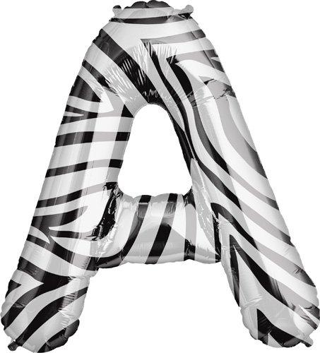 "34"" Foil Balloon Letter A - Zebra"