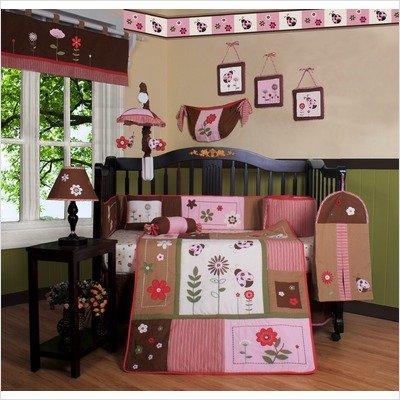 GEENNY Boutique Crib Bedding Set, LadyBug Flower, 13 Piece