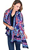 Women's Dazzling Colorful Blossoms Navy Blue Fashion Scarf / Shawl / Wrap