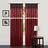 Lush Decor Cocoa Blossom Curtain Panel Pair, 42-Inch by 84-Inch, Red