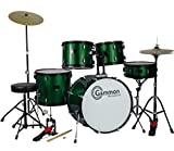 New Metallic Green Drum Set Full Size 5-Piece Kit with Cymbals Stands Throne and Sticks