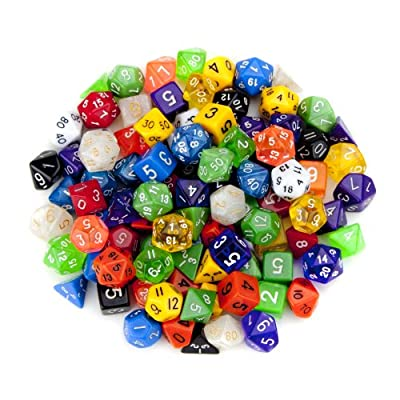 100+ Pack of Random Polyhedral Dice in Multiple Colors Plus Free Pouch Set by Wiz Dice by Wiz Dice