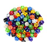 100+ Pack of Random Polyhedral Dice in Multiple Colors Plus Free Pouch Set by Wiz Dice