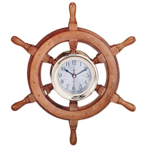 18 captain wheel clock wood nautical tropical home decor for Home decor sale sites