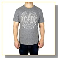 AC/DC Vintage Graphic Logo Tee Grey Heather Large