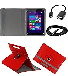 ECellStreet 360° Degree Rotating 7 Inch Flip Cover Diary Folio Case With Stand For EVU 4.2 Tablet - Red + Free Aux Cable + Free OTG Cable